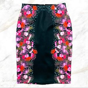 Guess | Pink/Red Floral Print Black Pencil Skirt